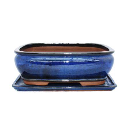 Bonsai-Schale mit Unterteller Gr. 4 - Blau - eckig - Modell G81 - L 25cm - B 21cm - H 9,5cm