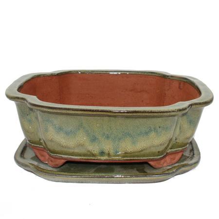 Bonsai-Schale mit Unterteller Gr. 5 - oliv-braun - haitang I4 - L 31,5cm - B 26cm - H 11cm