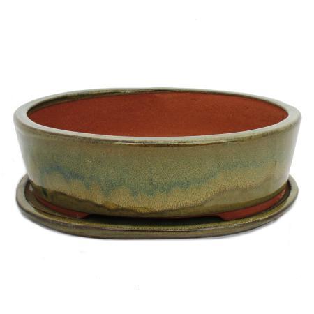Bonsai-Schale mit Unterteller Gr. 5 - oliv-braun - oval O1 - L 31cm - B 24cm - H 9cm