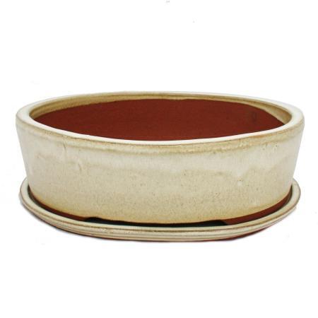 Bonsai-Schale mit Unterteller Gr. 5 - hellbeige - oval O1 - L 31cm - B 24cm - H 9cm