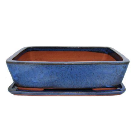 Bonsai-Schale mit Unterteller Gr. 5 - blau - rechteckig G30 -  L 32cm - B 24,5cm - H 8cm