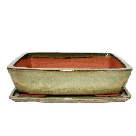 Bonsai bowl with saucer Gr. 5 - rectangular G30 - olive-brown - L 32cm - W 24,5cm - H 8cm