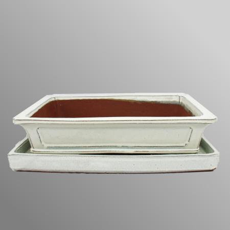 Bonsai bowl - oversize - rectangular - light beige - L 45.5cm - W 34cm - H 10cm