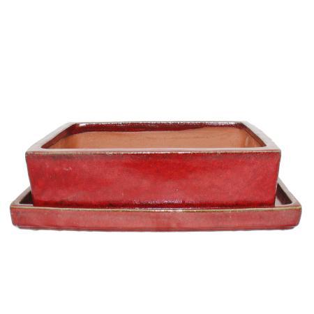 Bonsai-Schale  - Übergröße -  rechteckig  - rot - L 41cm - B 33,5cm - H 11cm