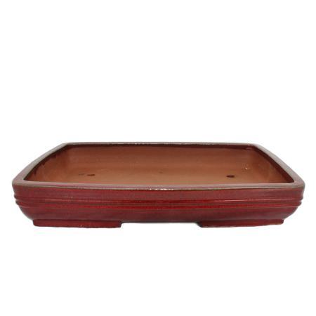 Bonsai-Schale  - Übergröße -  rechteckig  - rot - L 54cm - B 39cm - H 8cm