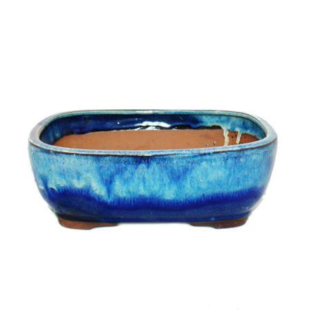 Bonsai-Schale - rechteckig G5B - zweifarbig blau-beige - L26,5cm x B21,5cm x H9cm