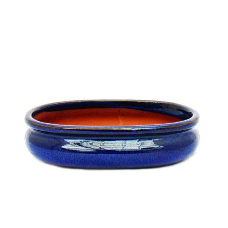Bonsai pot - oval O47 - blue - L19cm x W13.5cm x H5cm