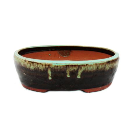 Bonsai-Schale - oval O4 - zweifarbig braun-türkis - L27,5cm x B21,5cm x H8cm