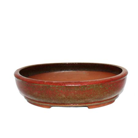 Bonsai pot XL - oval O4 - red - L37cm x W31cm x H9cm