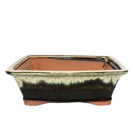 Bonsai pot - rectangular G93 - two-tone brown-beige - L27cm x W21.5cm x H9cm