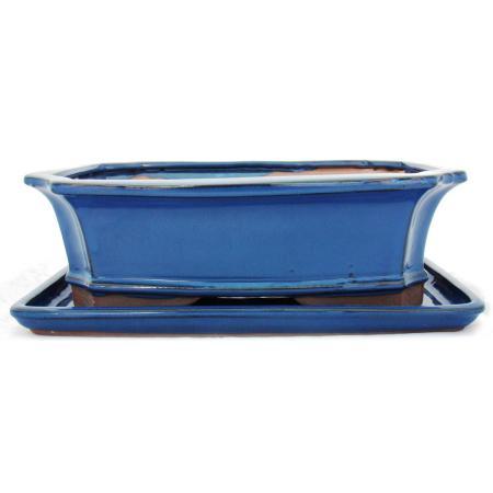 Bonsai-Schale mit Unterteller Gr. 5 -Blau - eckig - Modell G4 - L 31cm - B 23cm - H 9,5 cm