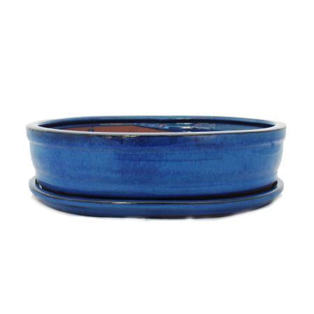 Bonsai cup and saucer Gr. 5 - blue - oval - model O7 - L 31cm - B 24cm - H 7,5 cm