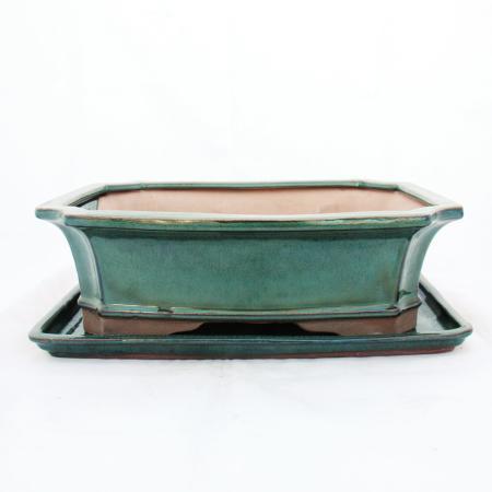 Bonsai-Schale mit Unterteller Gr. 5 -Grün - eckig - Modell G4 - L 31cm - B 23cm - H 9,5 cm