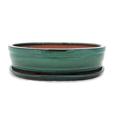 Bonsai-Schale mit Unterteller Gr. 5 - Grün - oval - Modell O7 - L 31cm - B 24cm - H 7,5 cm