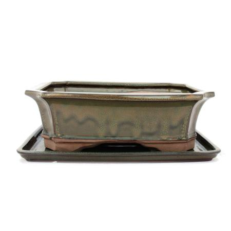 Bonsai cup and saucer Gr. 5 - olive brown - square - model G4 - L 31cm - B 23cm - H 9.5cm