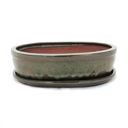 Bonsai cup and saucer Gr. 5 - olive brown - oval - model O7 - L 31cm - B 24cm - H 7,5 cm