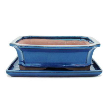 Bonsai-Schale mit Unterteller Gr. 4 - Blau - eckig - Modell G4 - L 26cm - B 20cm - H 8cm
