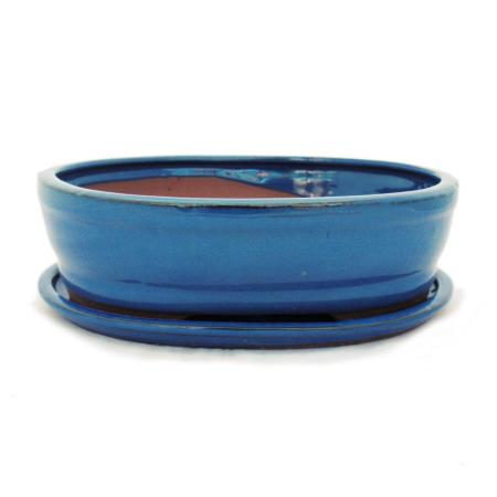 Bonsai cup and saucer Gr. 4 - blue oval - model O7 - L 26cm - B 21cm - H 7,5cm