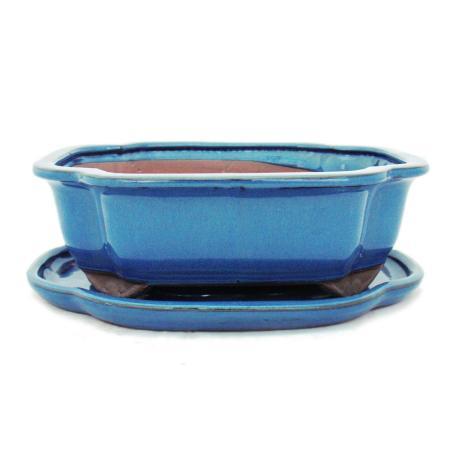 Bonsai-Schale mit Unterteller Gr. 4 - Blau - haitang/oval - Modell I4 - L 26cm - B 20,5cm - H 8,5cm