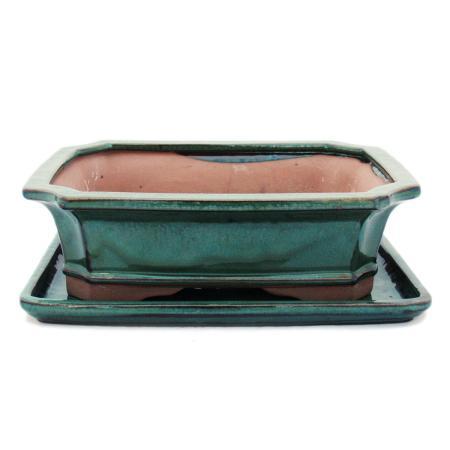 Bonsai-Schale mit Unterteller Gr. 4 - Grün - eckig - Modell G4 - L 26cm - B 20cm - H 8cm