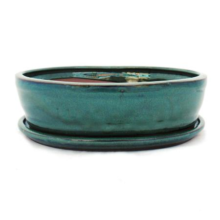 Bonsai-Schale mit Unterteller Gr. 4 - Grün - oval - Modell O7 - L 26cm - B 21cm - H 7,5cm