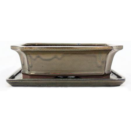 Bonsai cup and saucer Gr. 4 - Olive Brown - Square - Model G4 - L 26cm - B 20cm - H 8cm