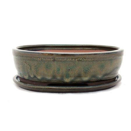 Bonsai-Schale mit Unterteller Gr. 4 - Oliv-Braun - oval - Modell O7 - L 26cm - B 21cm - H 7,5cm