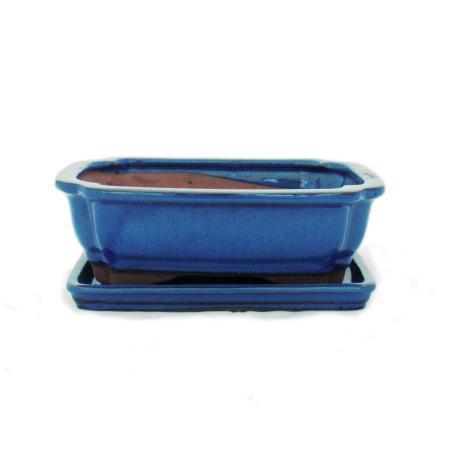 Bonsai-Schale mit Unterteller Gr. 3 - Blau - eckig - Modell G12 - L 18cm - B 14cm - H 5,5cm