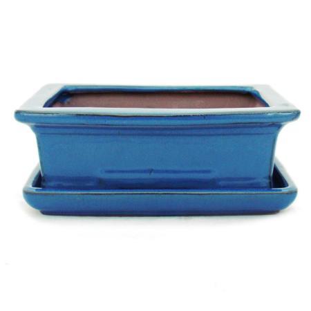 Bonsai cup and saucer Gr. 3 - blue - square - model G29 - L 18cm - B 13cm - H 6cm