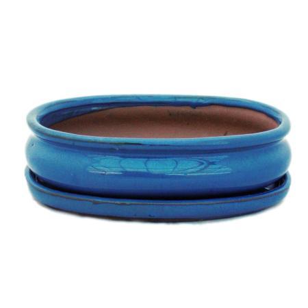 Bonsai cup and saucer Gr. 3 - blue - oval - model O47 - L 19cm - B 13.5cm - H 5cm
