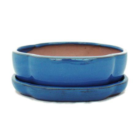 Bonsai cup and saucer Gr. 3 - blue - haitang/oval - model I5 - L 17cm - B 14cm - H 5,5cm