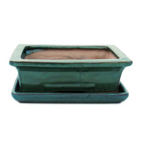 Bonsai-Schale mit Unterteller Gr. 3 - Grün - eckig - Modell G29 - L 18cm - B 13cm - H 6cm