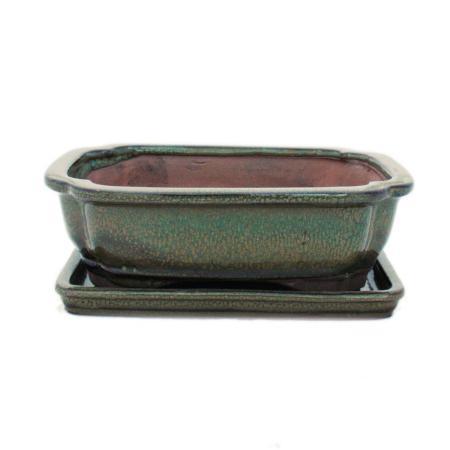 Bonsai cup and saucer Gr. 3 - Olive Brown - Square - Model G12 - L 18cm - B 14cm - H 5.5cm