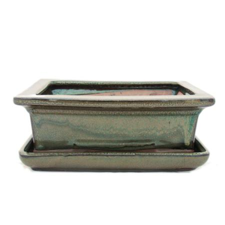 Bonsai cup and saucer Gr. 3 - olive brown - square - model G29 - L 18cm - B 13cm - H 6cm