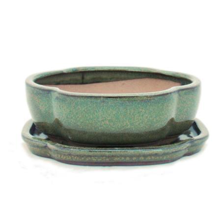 Bonsai-Schale mit Unterteller Gr. 3 - Oliv-Braun - haitang/oval  - Modell I5 - L 17cm - B 14cm - H 5,5cm
