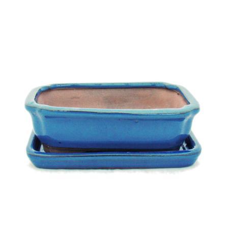 Bonsai-Schale mit Unterteller Gr. 2 - Blau - eckig - Modell G12 - L 15,5cm - B 11,5cm - H 4,5cm