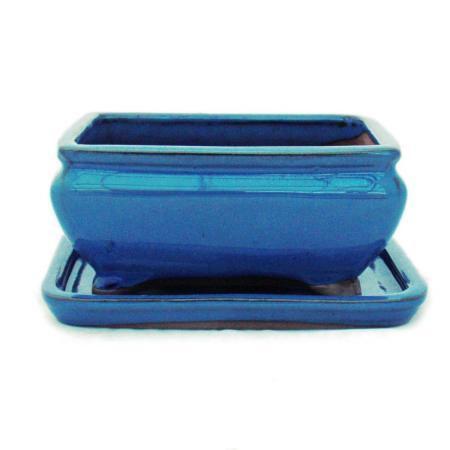 Bonsai-Schale mit Unterteller Gr. 2 - Blau - eckig - Modell G81 - L 14,5cm - B 11,3cm - H 6,6cm