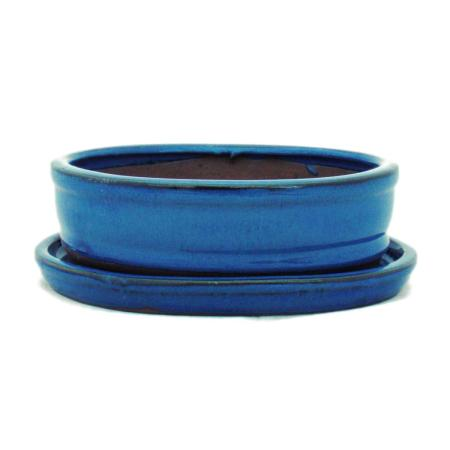 Bonsai-Schale mit Unterteller Gr. 2 - Blau - oval - Modell O7 - L 15,5cm - B 12cm - H 4,5cm