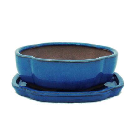 Bonsai-Schale mit Unterteller Gr. 2 - Blau - haitang/oval - Modell I5 - L 14,5cm - B 12,5cm - H 5cm