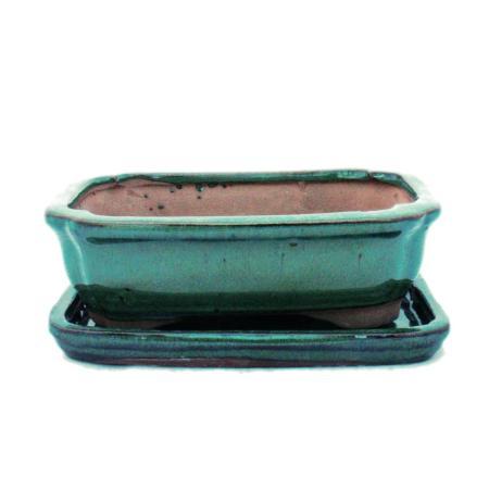 Bonsai-Schale mit Unterteller Gr. 2 - Grün - eckig - Modell G12 - L 15,5cm - B 11,5cm - H 4,5cm