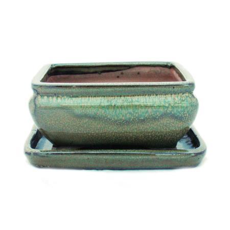 Bonsai-Schale mit Unterteller Gr. 2 - Grün - eckig - Modell G81 - L 14,5cm - B 11,3cm - H 6,6cm