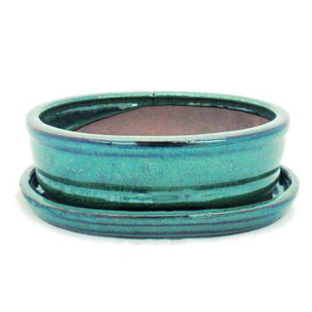 Bonsai-Schale mit Unterteller Gr. 2 - Grün - oval - Modell O7 - L 15,5cm - B 12cm - H 4,5cm