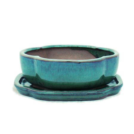 Bonsai-Schale mit Unterteller Gr. 2 - Grün - haitang/oval - Modell I5 - L 14,5cm - B 12,5cm - H 5cm