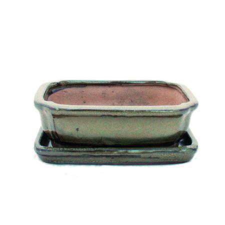 Bonsai cup and saucer Gr. 2 - Olive Brown - Square - Model G12 - L 15,5cm - B 11,5cm - H 4,5cm