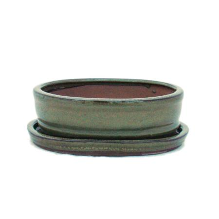 Bonsai cup and saucer Gr. 2 - olive brown - oval - model O7 - L 15,5cm - B 12cm - H 4,5cm