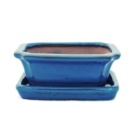 Bonsai-Schale mit Unterteller Gr. 1 - Blau -  eckig - Modell G13 - L 12cm - B 9,5cm - H 4,5 cm