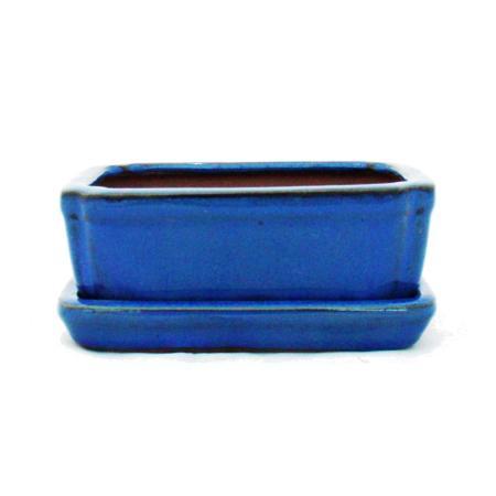 Bonsai-Schale mit Unterteller Gr. 1 - Blau -  eckig - Modell G15 - L 12cm - B 9,5cm - H 4,5 cm