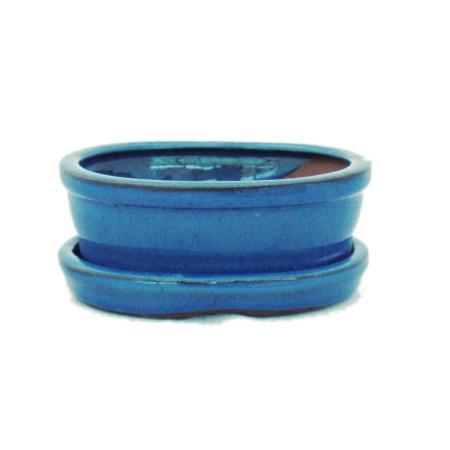 Bonsai cup and saucer Gr. 1 - blue - oval - model O7 - L 12cm - B 9,5cm - H 4,5 cm