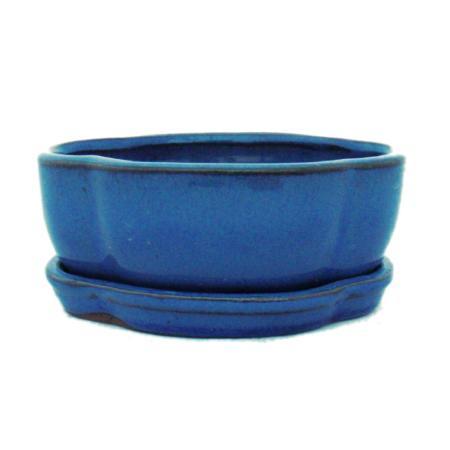 Bonsai-Schale mit Unterteller  Gr. 1 - Blau -  haitang/oval  - Modell I5 - L 12cm - B 9,5cm - H 4,5 cm
