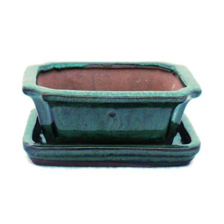Bonsai-Schale mit Unterteller Gr. 1 - Grün - eckig - Modell G13 - L 12cm - B 9,5cm - H 4,5 cm
